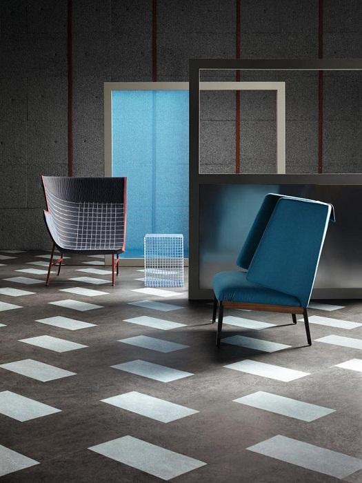 Marmoleum Click în living minimalist